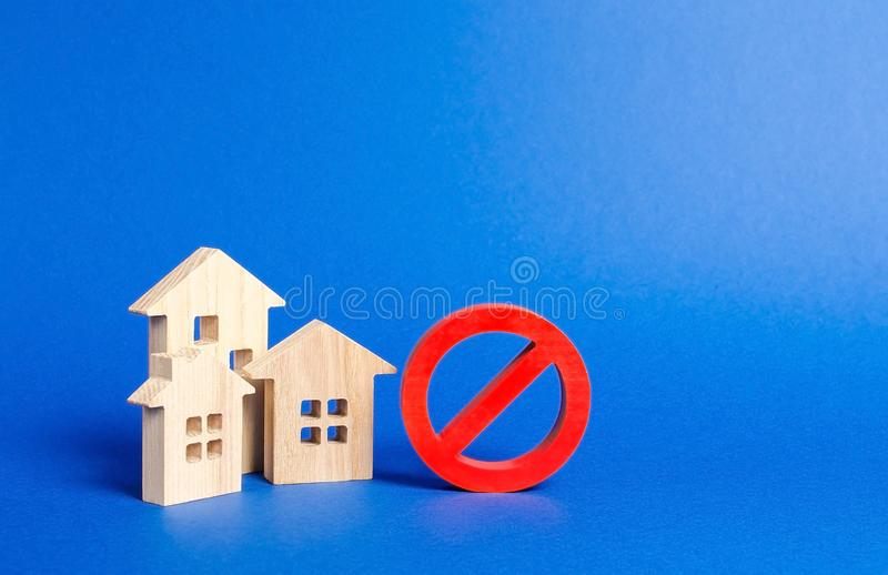 No Sign and houses. Inaccessible and expensive housing. Seizure and freezing of assets by a bank, court. Restrictions and a ban. On the construction of housing stock image