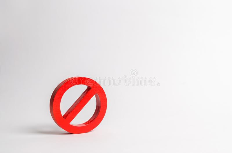 No sign or No symbol. Minimalism. The concept of prohibition and restriction. Censorship, control over the Internet royalty free stock image