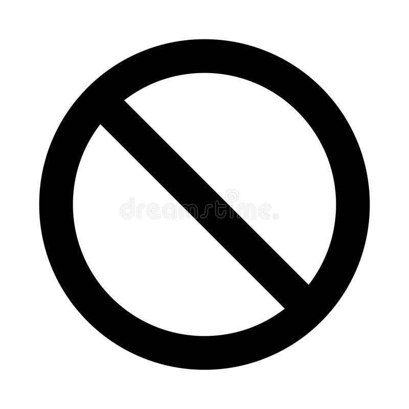 No sign, prohibition symbol design isolated on white background stock illustration