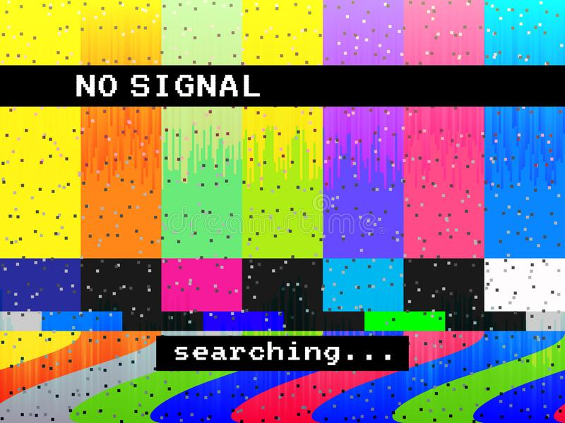 No signal glitch TV. Distorted color lines. Digital glitch distortion. Screen with color bars and noise. Vector. Illustration stock illustration