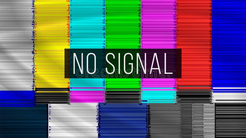 No Signal TV. Descendant Network. Rainbow Bars. Vector Abstract Background stock illustration