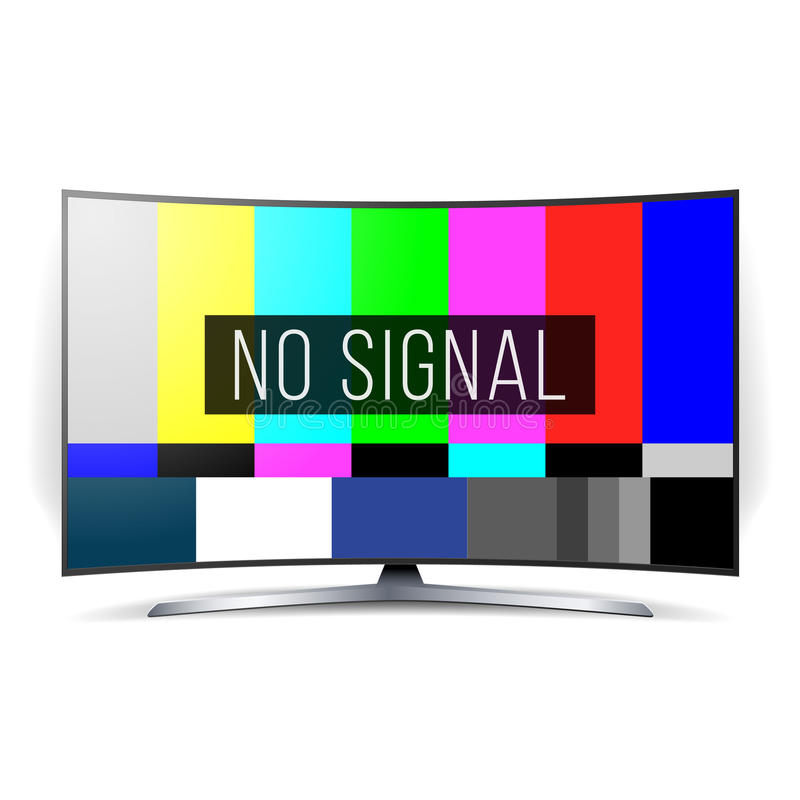 No Signal TV Test Vector. Lcd Monitor. Flat Screen TV. Television Colored Bars Signal. SMPTE Color bars stock illustration