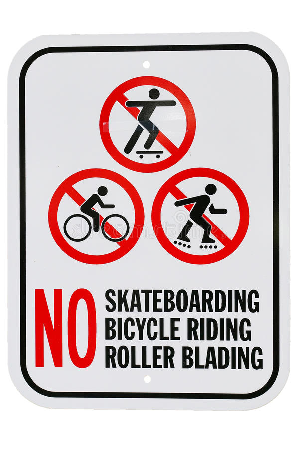 No skateboarding bicycle riding roller blading sign. A set of three signs for various restrictions stock images