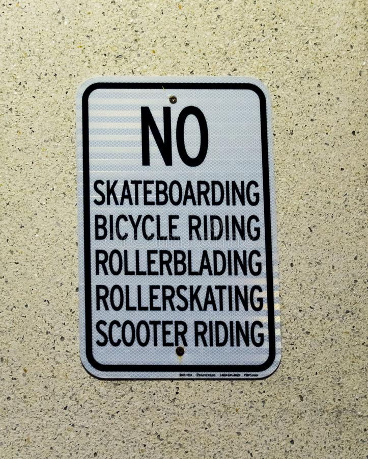 No Skateboarding No Bicycle, No Rollerblading, No Rollerskatiing, No Scooters. No Skateboarding, No Bicycle Riding, N- Rollerblading, No Rollerskating, No stock image