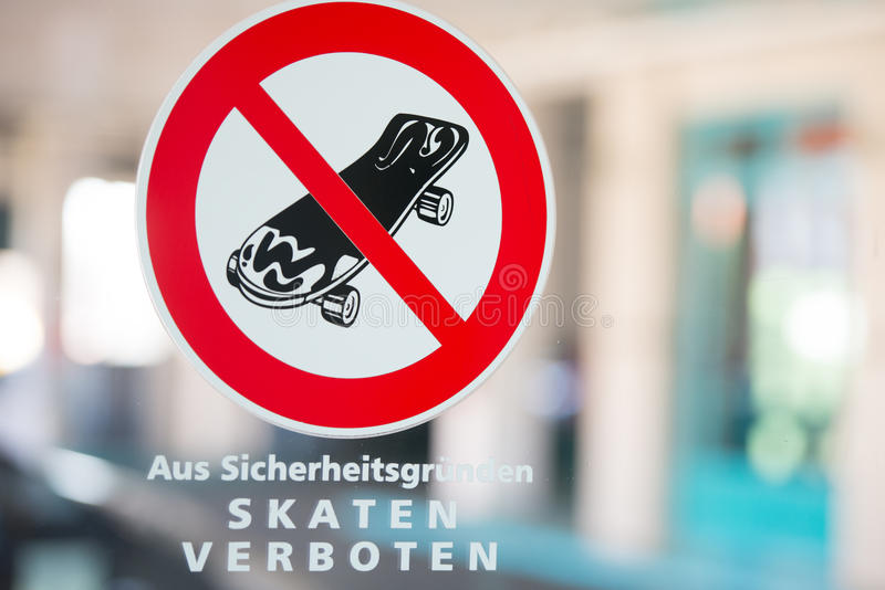 No Skateboarding Sign In German Outdoor Stock Image Image Of