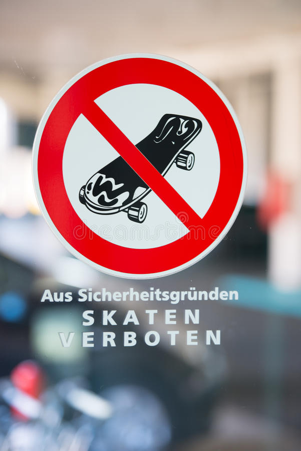 No Skateboarding Sign In German On Window Stock Photo Image Of
