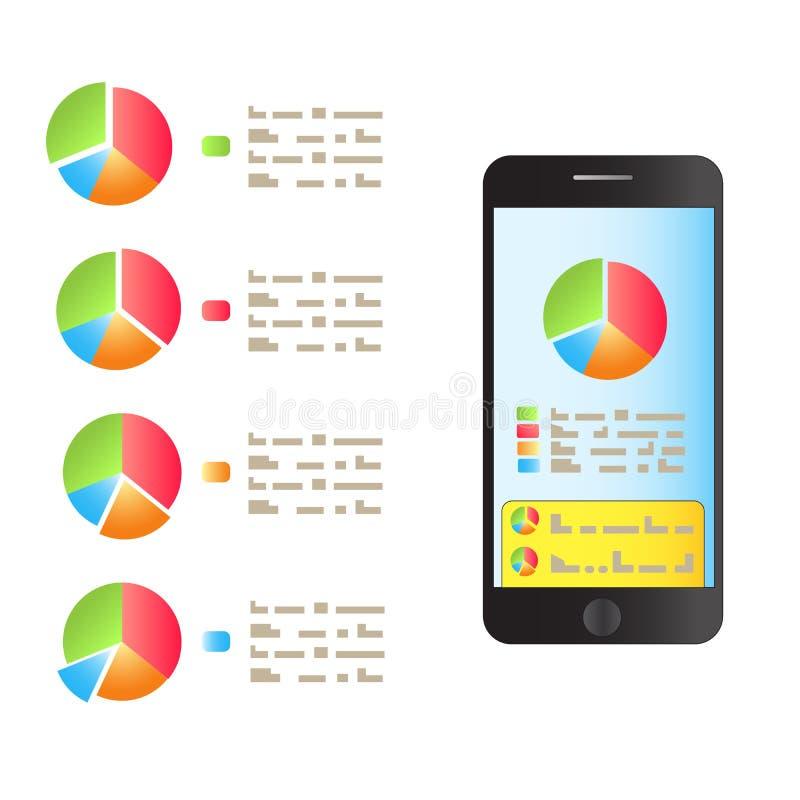 No smartphone a tela é um gráfico do desempenho Vetor ilustração do vetor