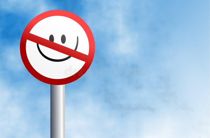 No Smiling Sign Stock Photography
