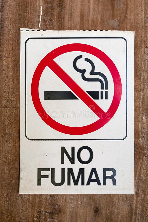 No smokin sign with spanish text royalty free stock photos