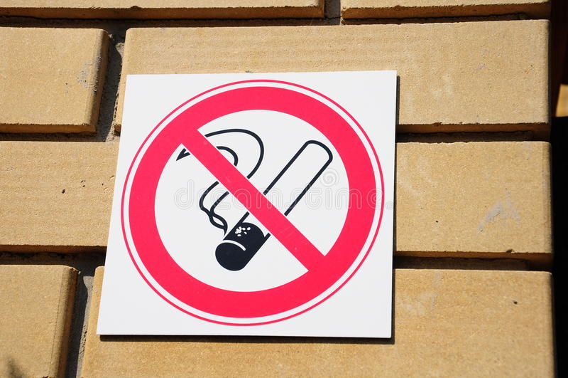 No smoking. Sign on wall stock photo