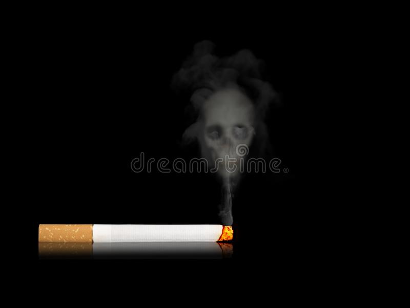 Burning cigarette laying on floor and smoke floating on top. royalty free stock images