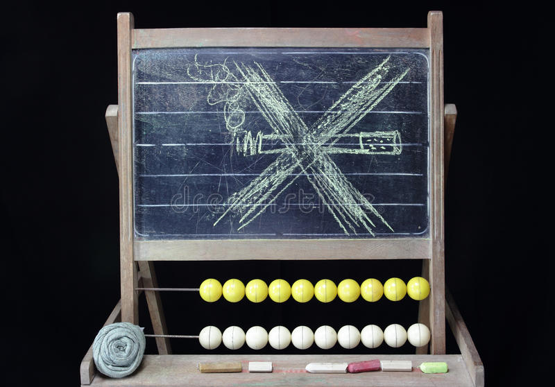 No smoking drawing on chalkboard. No smoking ban , drawing on vintage chalkboard stock image