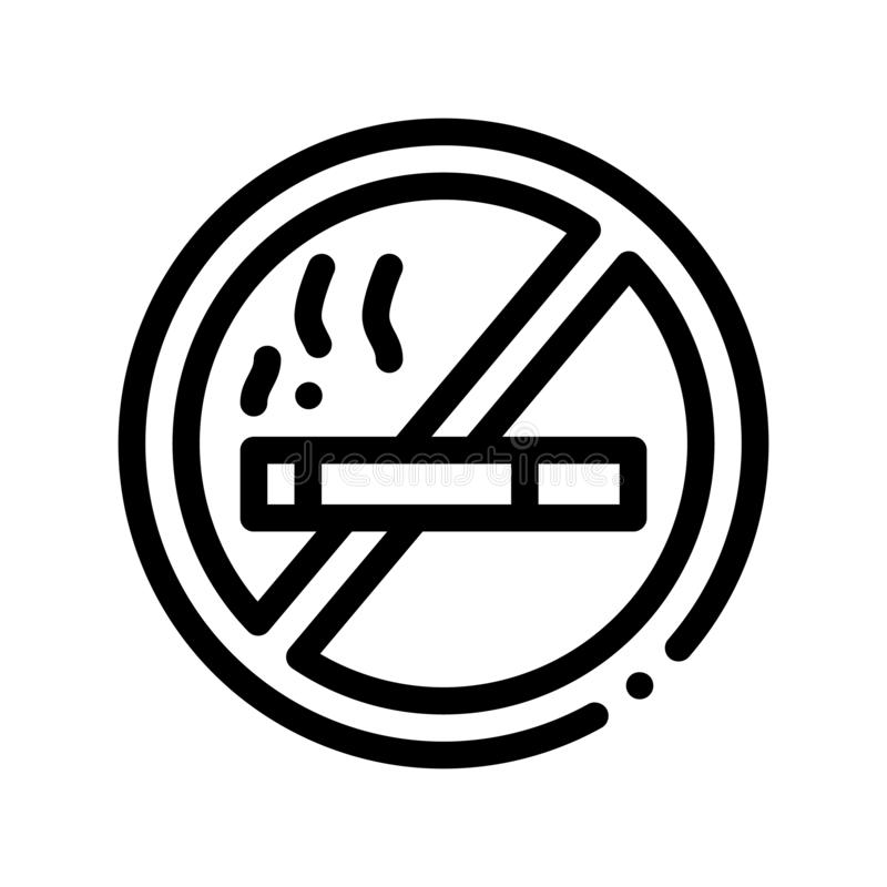 No Smoking Forbidden Sign Vector Thin Line Icon. Forbidden Smoke Cigarette, Hotel Performance Of Service Equipment Linear Pictogram. Business Hostel Items royalty free illustration