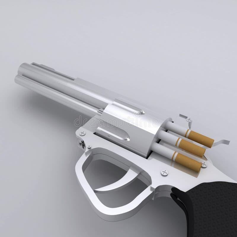 No Smoking Gun with Cigarette Bullets vector illustration