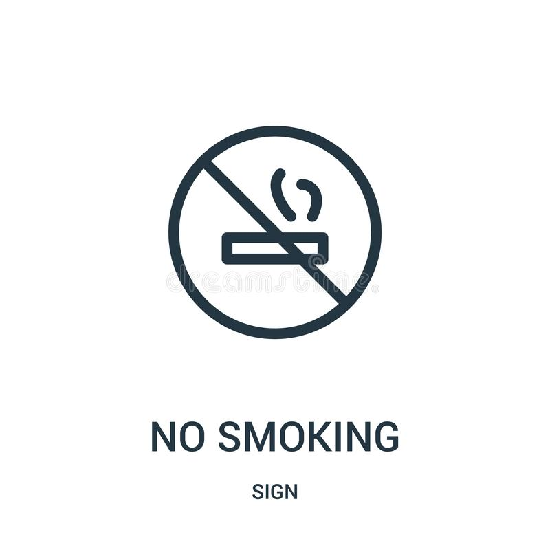 no smoking icon vector from sign collection. Thin line no smoking outline icon vector illustration royalty free illustration