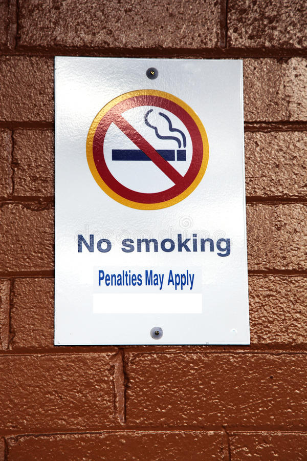 No smoking sign. On a brick wall stock image