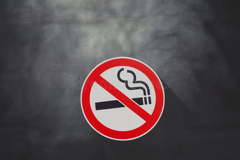 No smoking sign on black board ,health royalty free stock photos