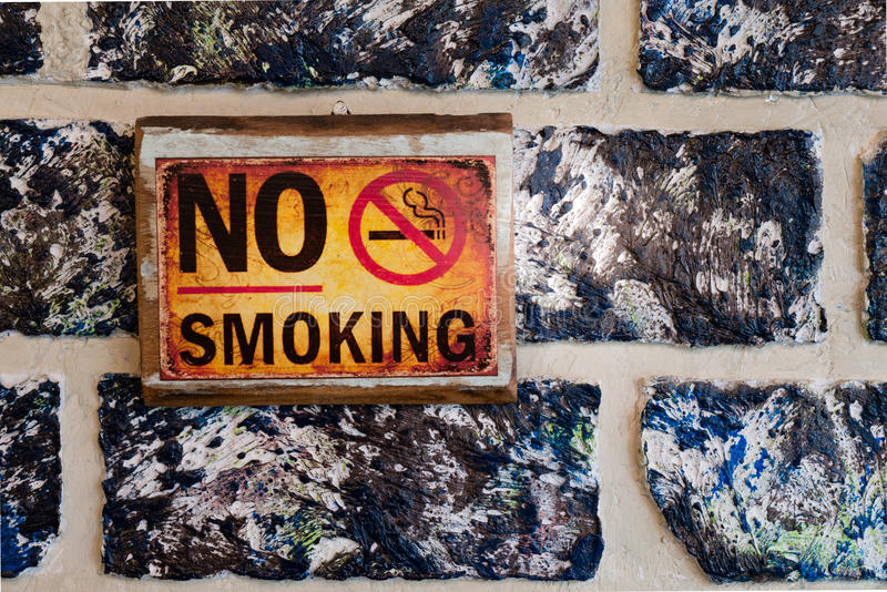 No smoking sign on oil pastel wall royalty free stock photo