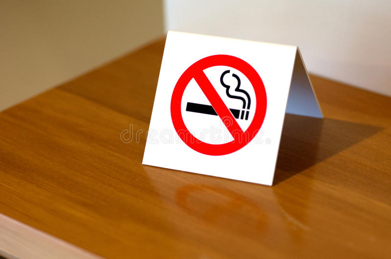 No Smoking Sign. On a shelf of hotel room stock images