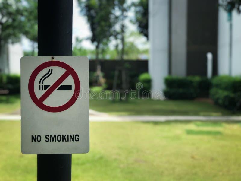 No smoking sign in the park stock photos