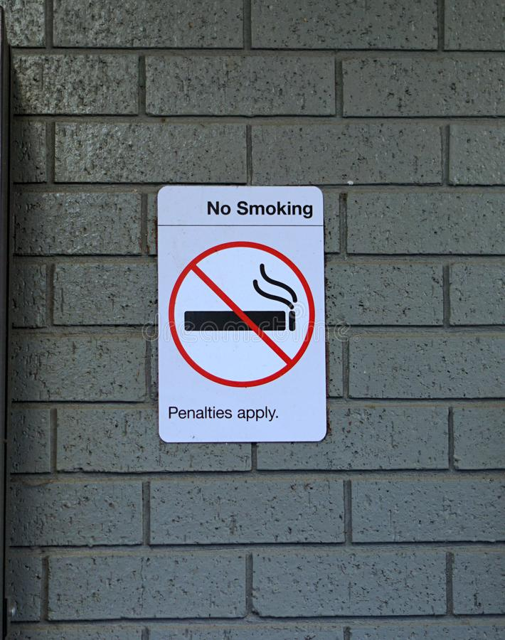 No smoking signage in train station. No smoking sign penalties apply in a train station in Australia royalty free stock images
