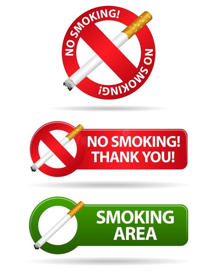 No smoking and smoking area signs royalty free illustration
