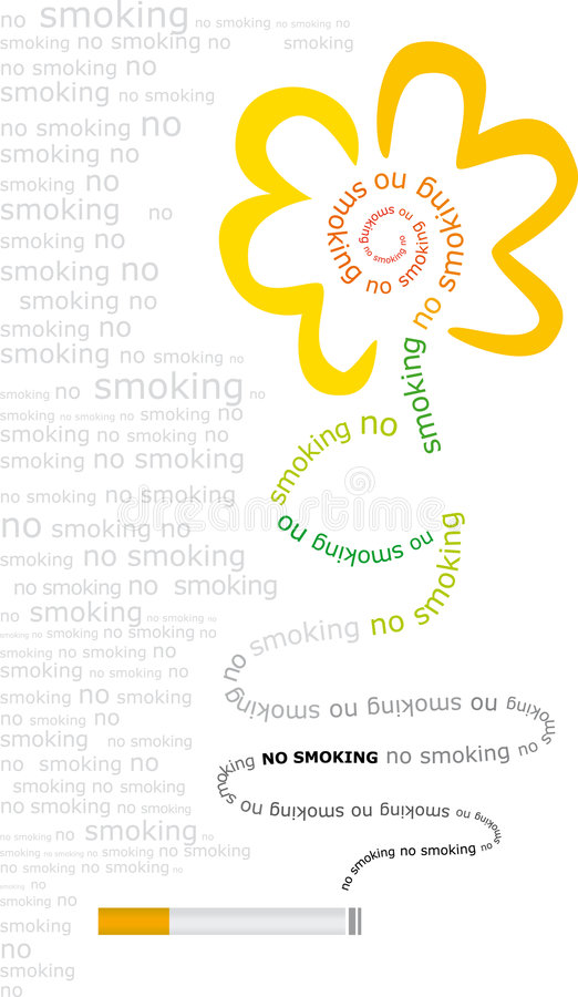 No smoking (vector). Illustration not to smoke, better flowers than smoke, with words and letters royalty free illustration