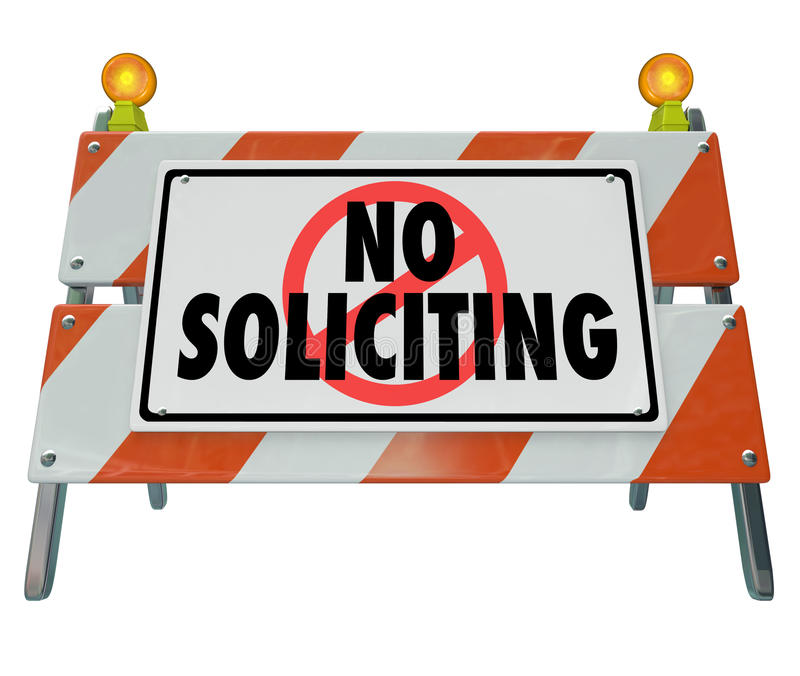 No Soliciting Barricade Barrier Sign Block Selling Salespeople stock illustration
