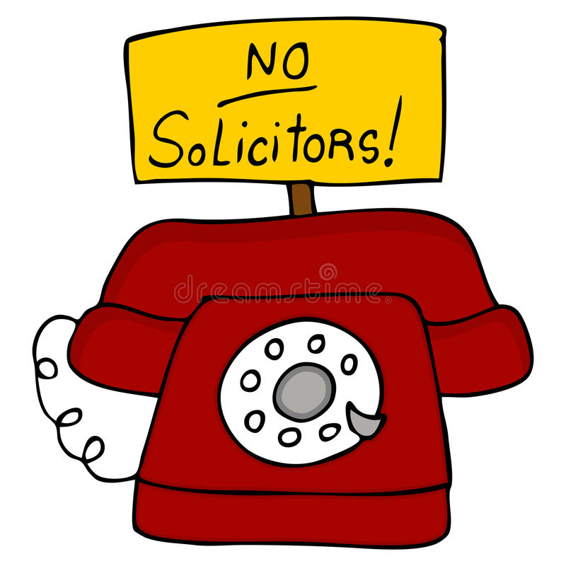No Solicitors Telephone. An image of a telephone with a no solicitors sign royalty free illustration