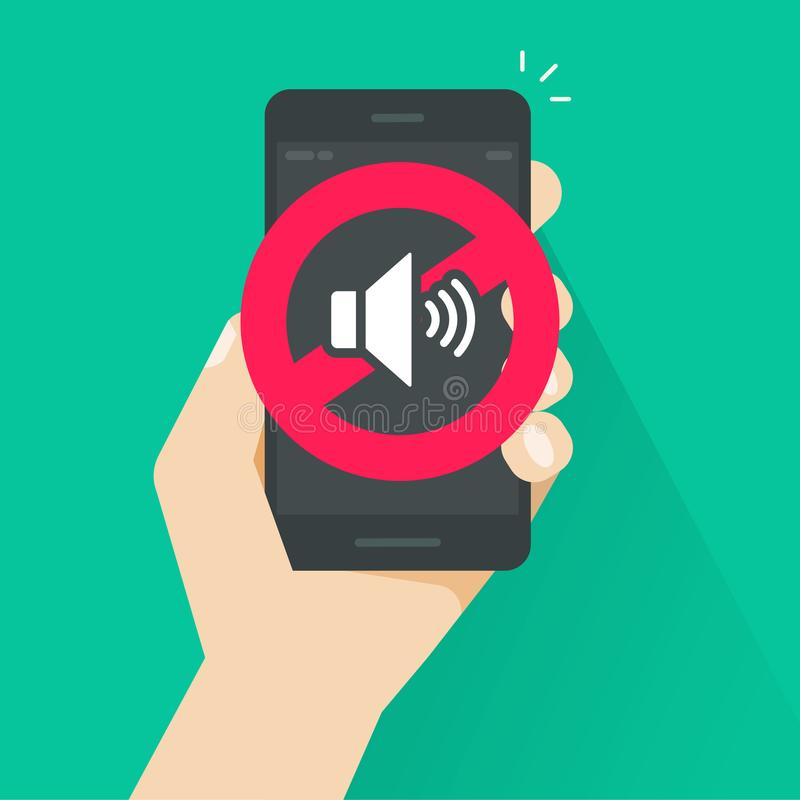 No sound sign for mobile phone vector illustration, flat cartoon style volume off or mute mode sign for smartphone royalty free illustration