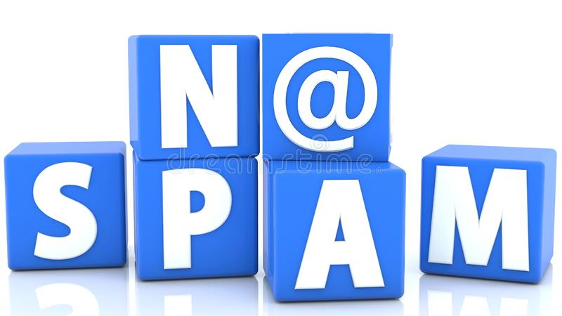 No Spam concept on cubes in blue color stock illustration