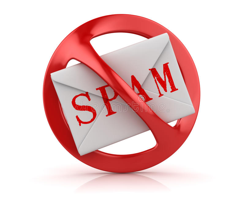 No Spam Concept. This is a 3d Rendered Computer Generated Image. on White royalty free illustration