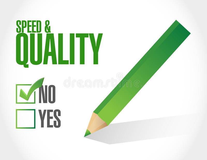 no speed and quality sign illustration stock illustration