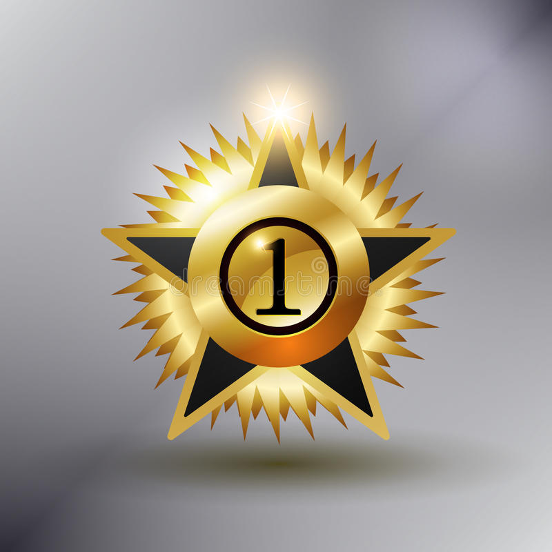 No 1 Star Medal. Gold color and shiny stock illustration