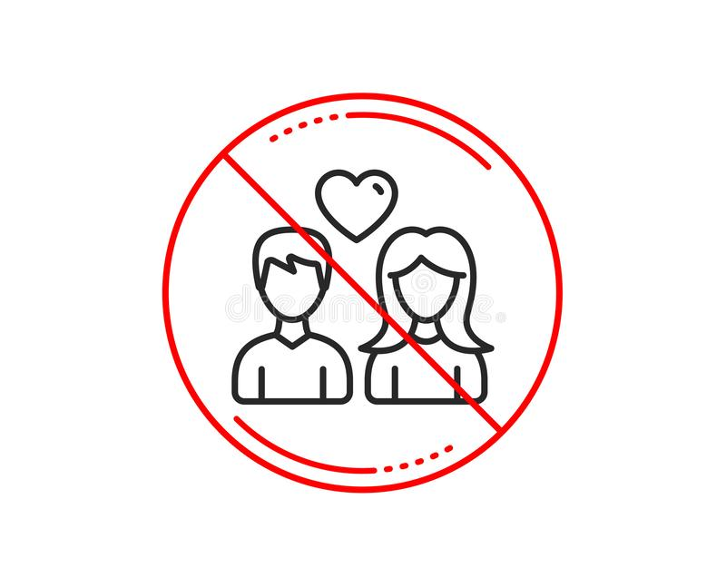 Couple line icon. Users with Heart sign. Vector stock illustration