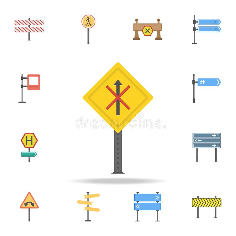 No straight colored icon. Detailed set of color road sign icons. Premium graphic design. One of the collection icons for websites vector illustration