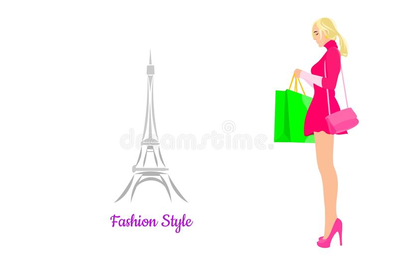 No stress let`s shopping Fashionable blonde woman in a short lily dress royalty free illustration