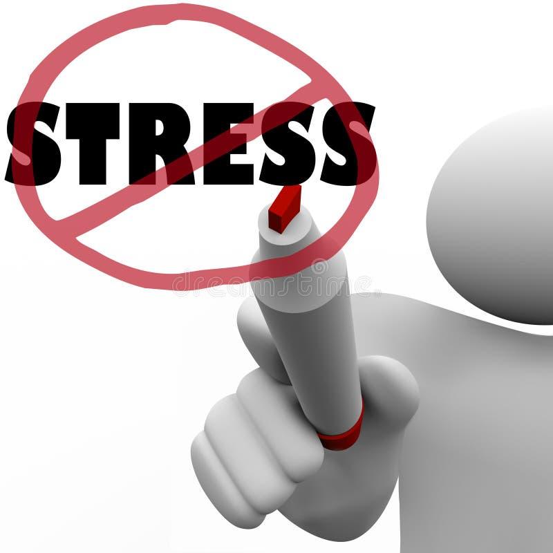 No Stress Man Draws Slash to Reduce Stressful Anxiety stock illustration