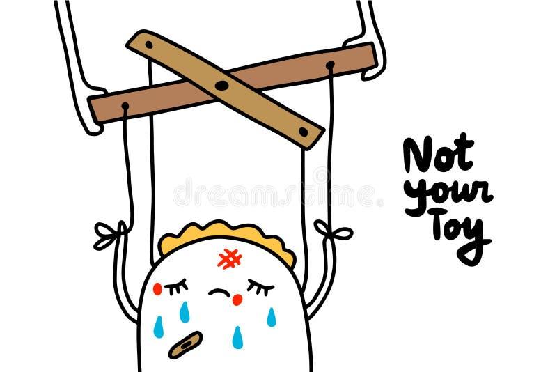 No su ejemplo exhausto de la mano del juguete con la marioneta herida mujer de la historieta stock de ilustración
