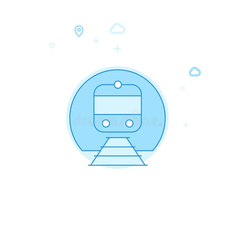 No subsolo, ilustração lisa do vetor do metro ou do metro, ícone Claro - projeto monocromático azul Curso editável ilustração stock