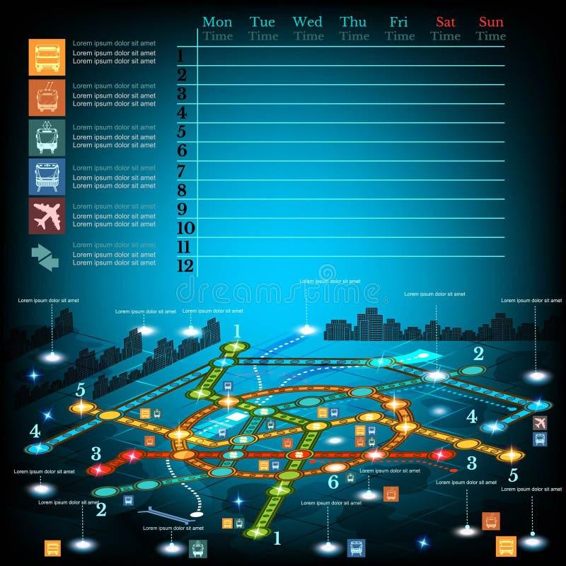 No subsolo infographic com linhas de metro no mapa da cidade ilustração stock
