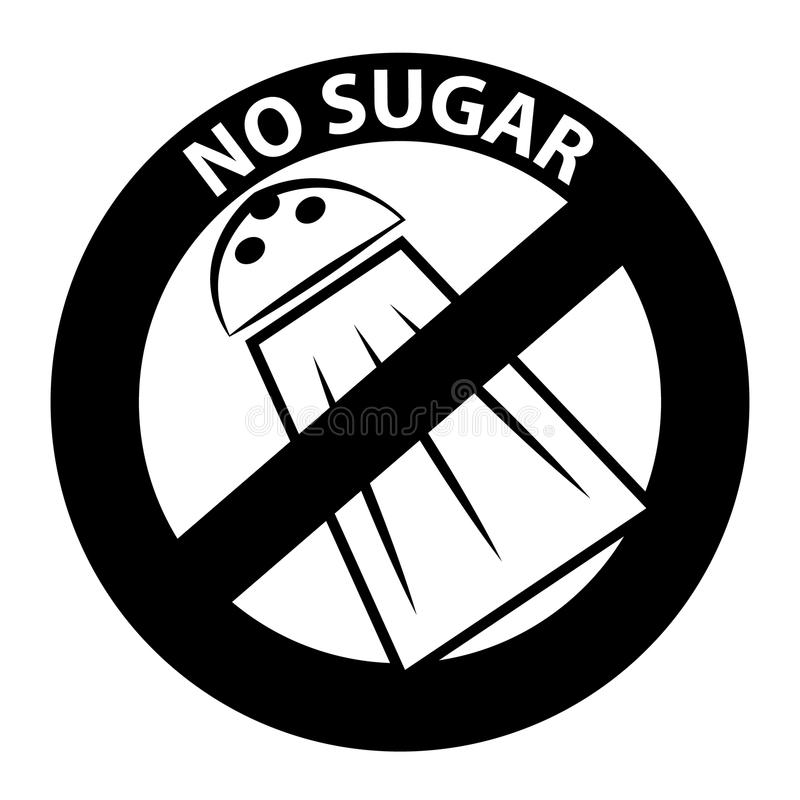 No sugar symbol. Isolated on white background royalty free illustration