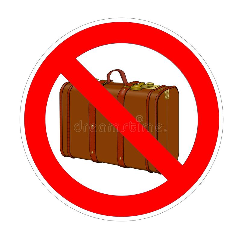 No suitecase, hand baggage, luggage forbidden sign, red prohibition symbol vector illustration