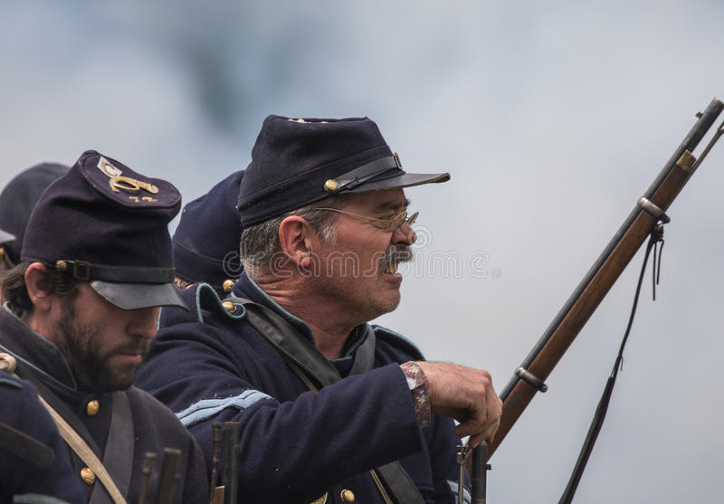 No Surrender. Civil War era soldiers in battle at the Dog Island reenactment in Red Bluff, California royalty free stock photography