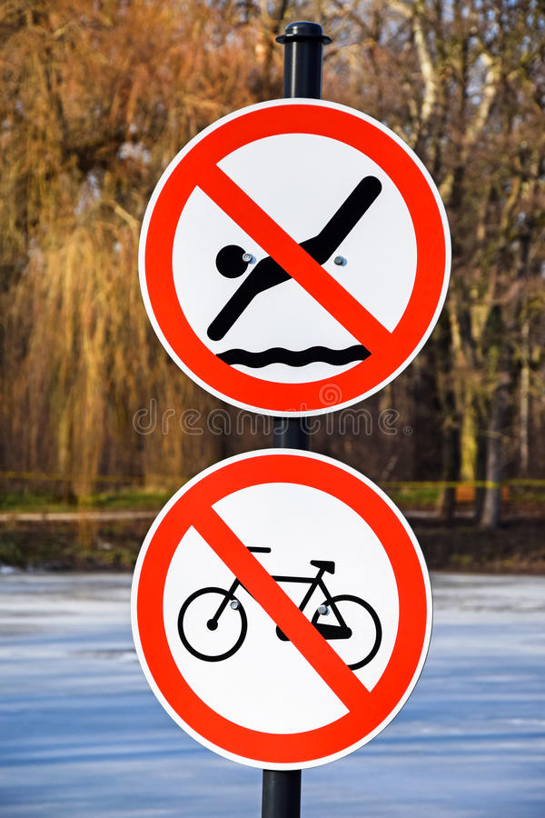 Free No Swimming And No Cycling Traffic Signs Stock Photo - 59515970