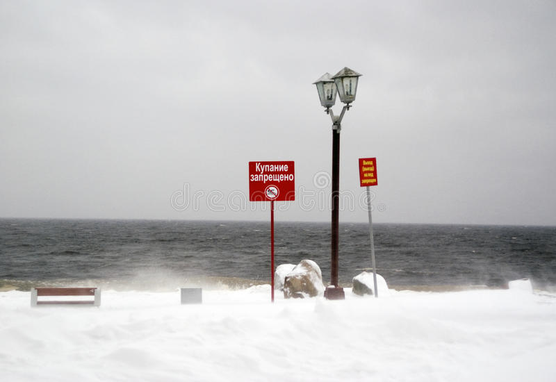 Download No Swimming. City Seafront In Winter. Stock Image - Image: 28080893