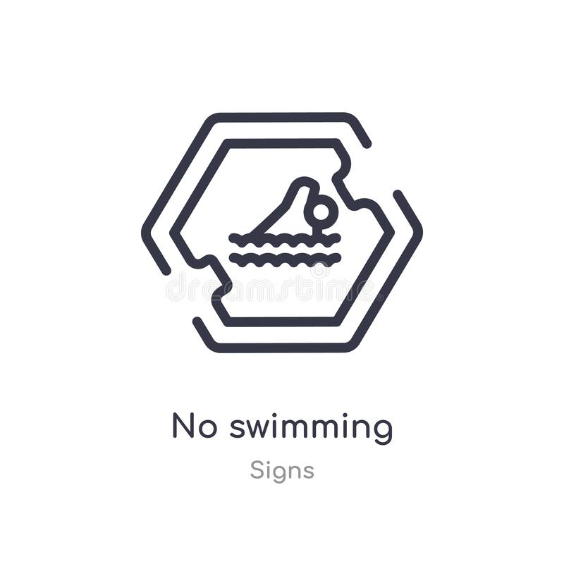 No swimming outline icon. isolated line vector illustration from signs collection. editable thin stroke no swimming icon on white. Background stock illustration