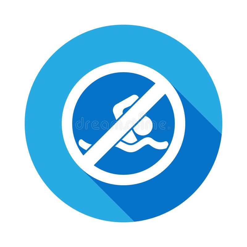 Free No Swimming, Prohibited Sign Iconwith Long Shadow Royalty Free Stock Photo - 122514485
