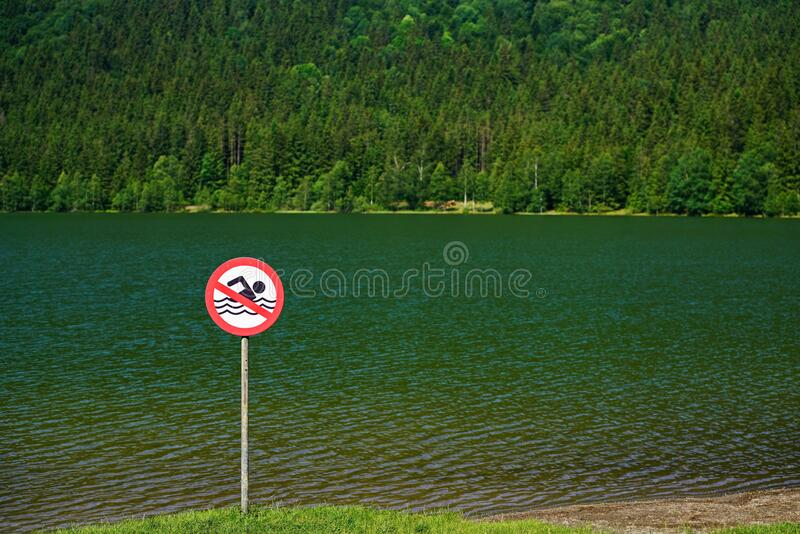 No swimming sign at the Saint Anne Lake royalty free stock image