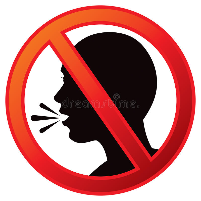 no talking sign stock vector illustration of image silent 42078274 rh dreamstime com No Talking Sign no talking clipart free
